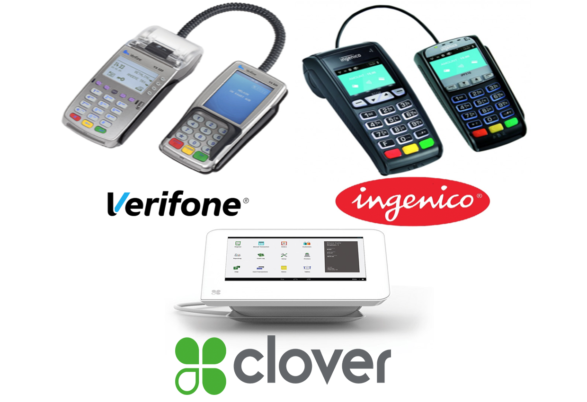 Credit Card Processing Devices by Clover, Verifone, and Ingenico